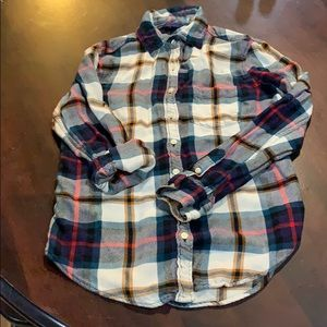 Gently used flannel plaid button-down shirt!